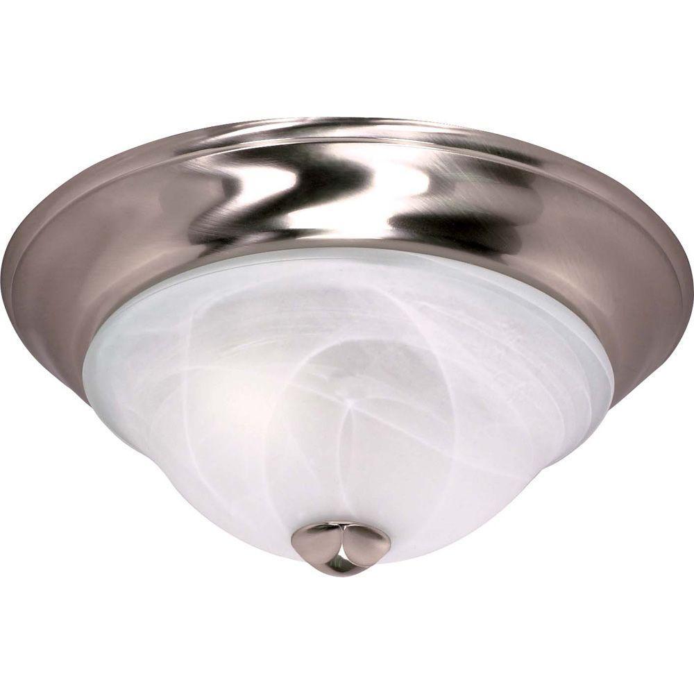 Glomar 2-Light Ceiling Brushed Nickel Incandescent Flush Mount