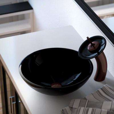 Glass Vessel Sink in Black with Waterfall Faucet and Pop-Up Drain in Oil Rubbed Bronze