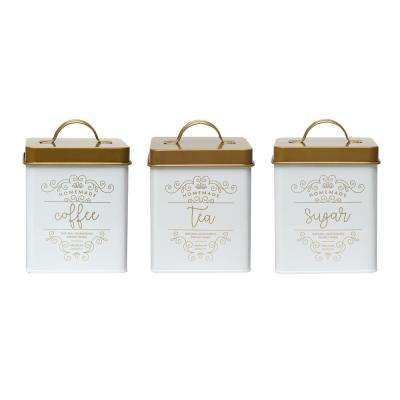 Harper 3-Piece Metal Storage Canister Set with Square Shape