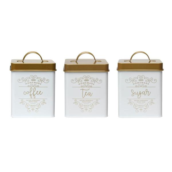 Amici Home Harper 3-Piece Metal Storage Canister Set with Square Shape