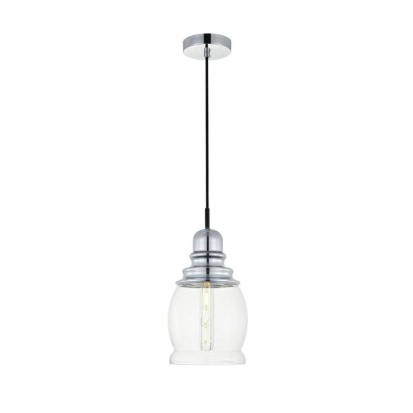 Timeless Home Kali 1-Light Pendant in Chrome with 6.3 in. W x 10.8 in. H Clear Glass Shade