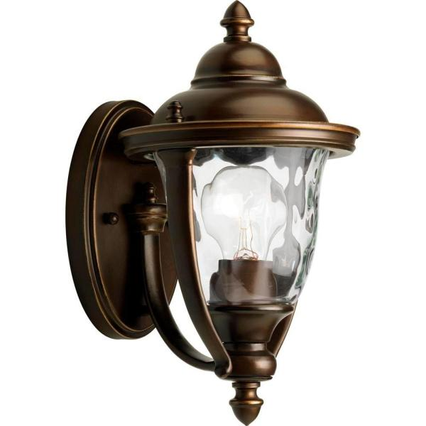 Prestwick Collection 1-Light Oil Rubbed Bronze 11 in. Outdoor Wall Lantern Sconce