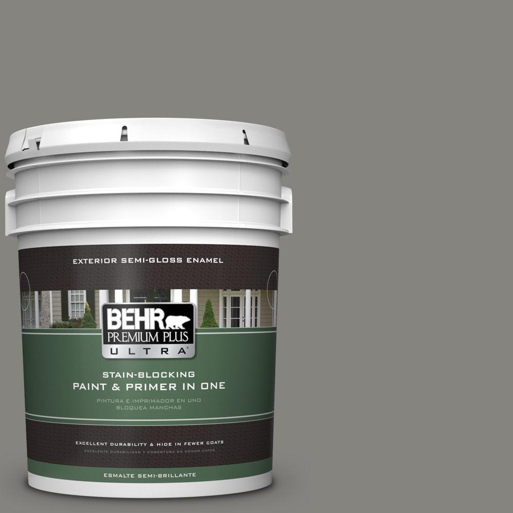 BEHR Premium Plus Ultra 5 gal. #PPU24-07 Barnwood Gray Semi-Gloss Enamel Exterior Paint