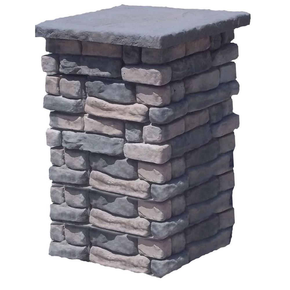 36 in. Concrete Tall Random Limestone Column Kit with Top Cap