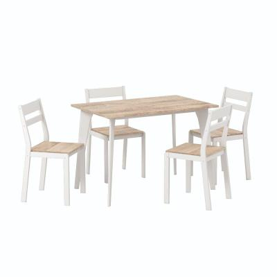 Miley 5-Piece Natural and White Dining Table Set
