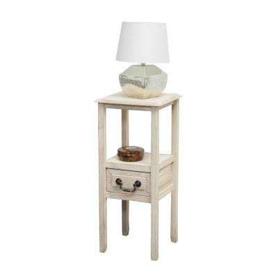Beige Wooden Accent Table with Open Shelf and Bottom Drawer