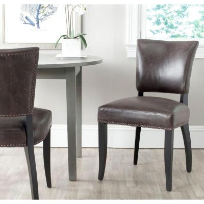 Desa Antique Brown and Black Bicast Leather Side Chair (Set of 2)
