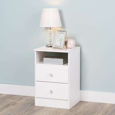 Astrid 2-Drawer Crystal White Nightstand