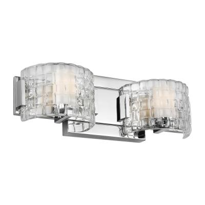 Brinton 2-Light Chrome Vanity Light with Clear Basket Weave Shades