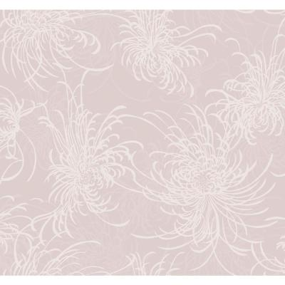 Noell Blush and Off-White Floral Print Wallpaper