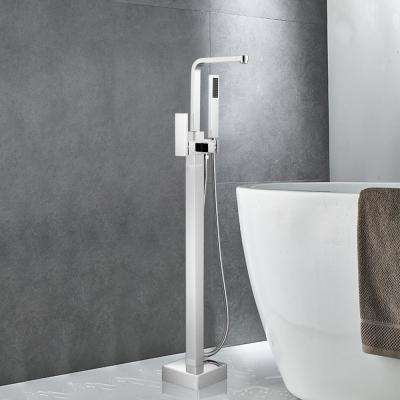 42 in. H x 6 in. W Single-Handle Claw Foot Tub Faucet with Hand Shower in Brushed Nickel
