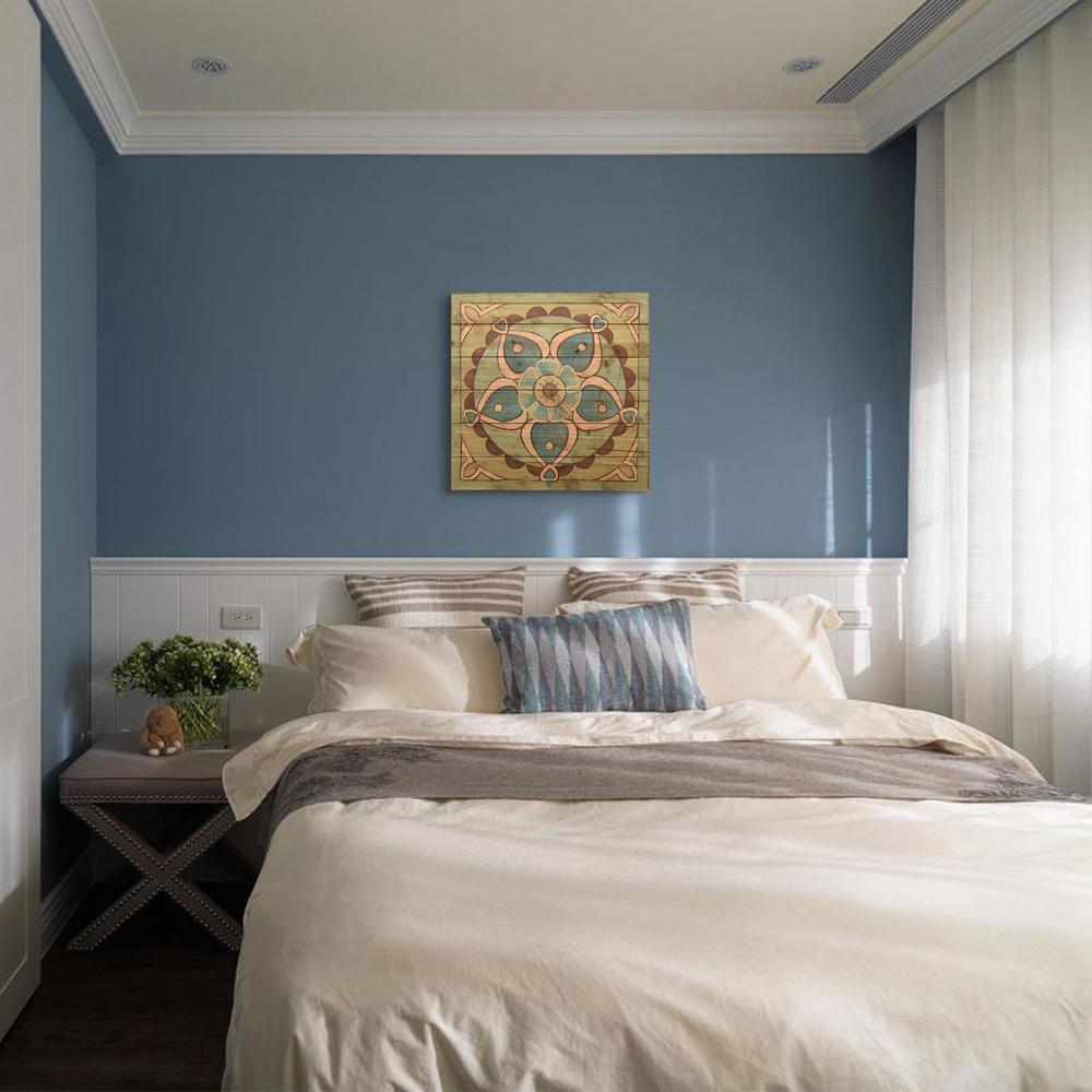 """24 in. x 24 in. """"Ornamental Tile 4"""" Arte de Legno Digital Print on Solid Wood Wall Art"""