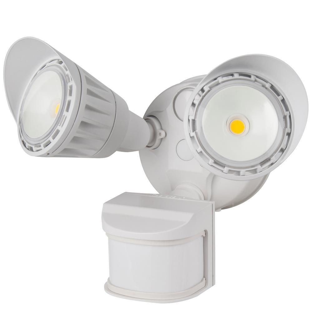 130-Watt Equivalent Integrated LED White Weatherproof Motion Sensor and Photocell Dual Head Security Area Light 5000K