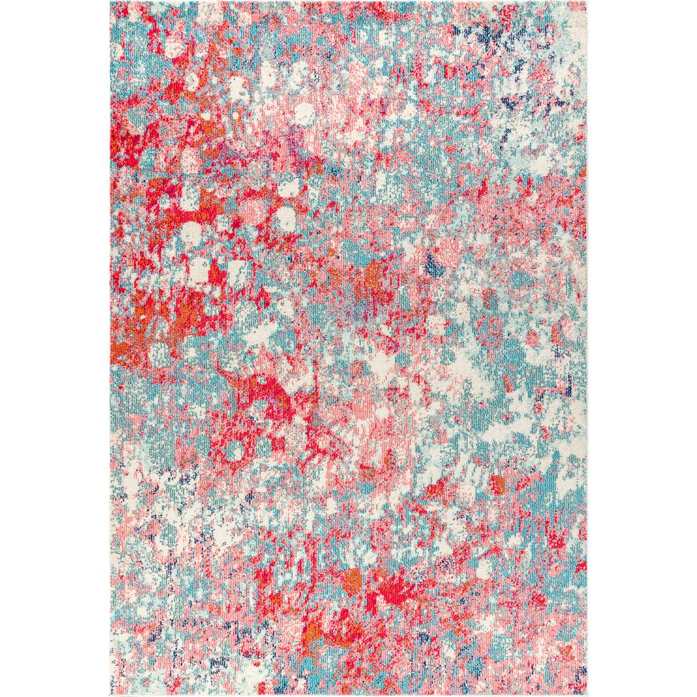 Jonathan Y Contemporary Pop Modern Abstract Blue Red 8 Ft