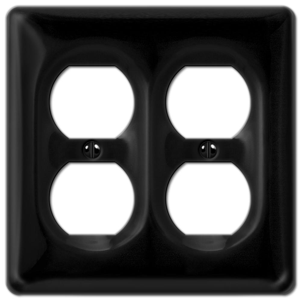 Allena 2 Gang Duplex Ceramic Wall Plate - Black