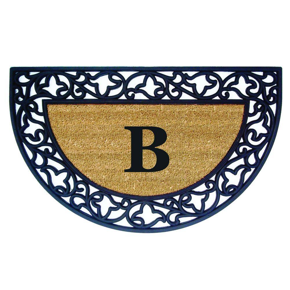 Nedia Home Acanthus Border 22 in. x 36 in. Rubber Coir Half Round Monogrammed B Door Mat