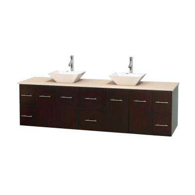 Centra 80 in. Double Vanity in Espresso with Marble Vanity Top in Ivory and Porcelain Sinks