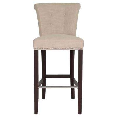 Luxe 30 in. Almond Fabric, Espresso Bar Stool