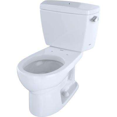 Eco Drake 2-Piece 1.28 GPF Single Flush Round Toilet with Right Hand Trip Lever and Bolted Tank Lid in Cotton White