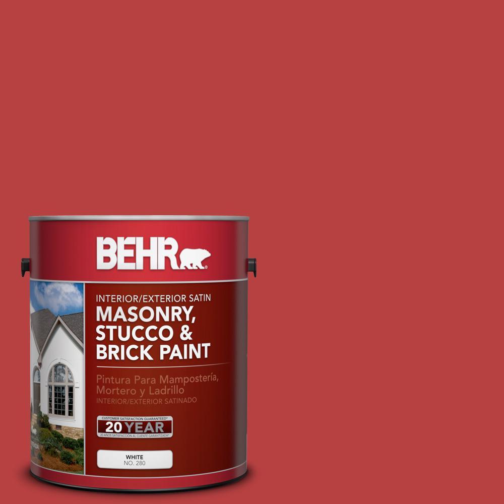 1 gal. #OSHA-5 Osha Safety Red Satin Interior/Exterior Masonry, Stucco and Brick Paint