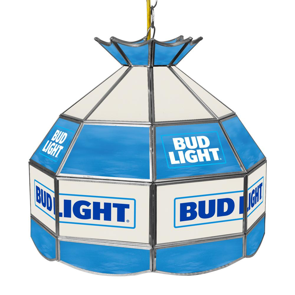 Trademark Bud Light 16 In Silver Hanging Tiffany Style Billiard Lamp