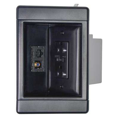 1-Gang Recessed TV Media Box Kit with Surge Suppressing Outlet and Low Voltage Inserts, Black
