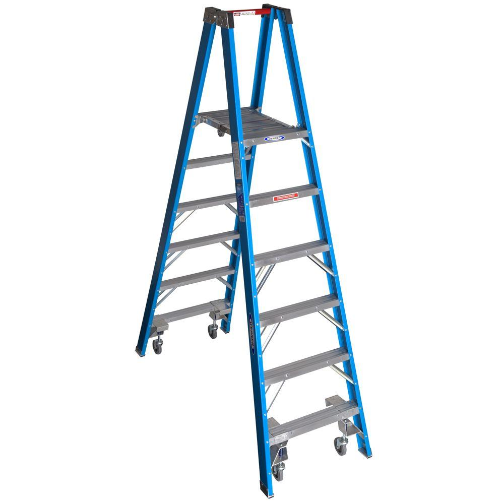 Werner 12 ft. Reach Fiberglass Platform Twin Step Ladder with Casters 250 lb. Load Capacity Type I Duty Rating