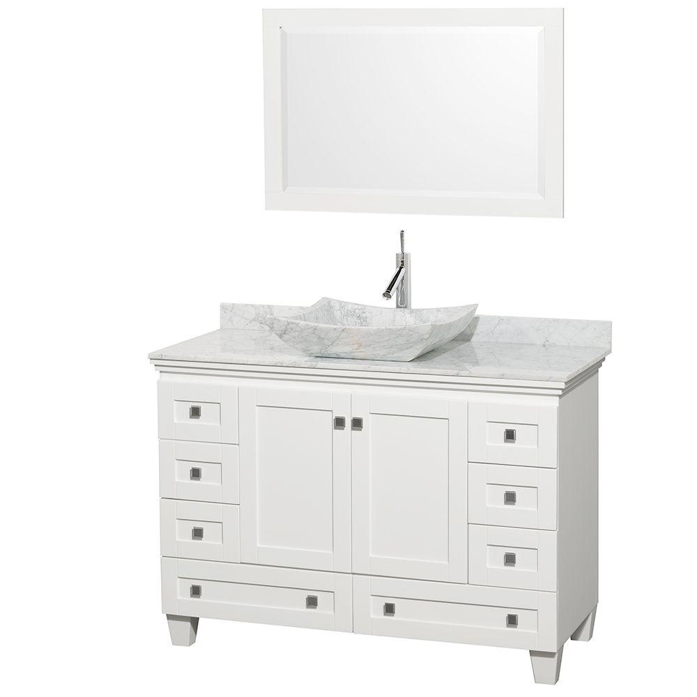 Wyndham Collection Acclaim 48 In W Vanity In White With Marble Vanity Top In Carrara White White Carrara Marble Sink And Mirror