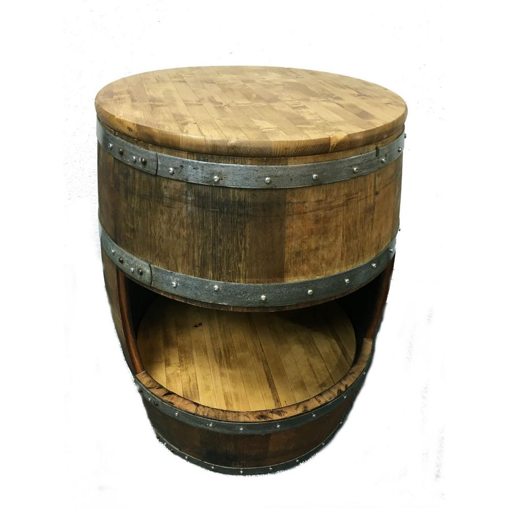 MGP 24 in. W x 34 in. H Lacquer Finished Wine Barrel Coun...