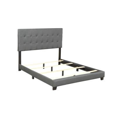 79 in. Gray Upholstered Linen Stitch Tufted Platform Full Bed with Slat Support