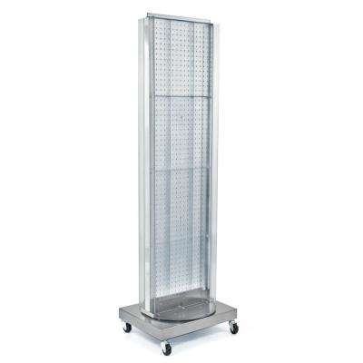 60 in. H x 16 in. W Pegboard Floor Display in Clear with C-Channel Sides on a Revolving Base