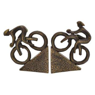 7.25 in. Bronze Cyclist Bookend (Set of 2)