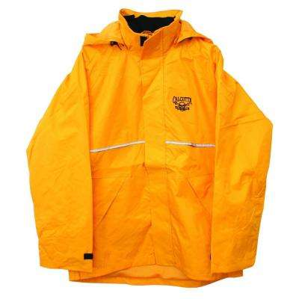 Adult Large Nylon Hooded Storm Jacket in Yellow, Fleece Lined Collar