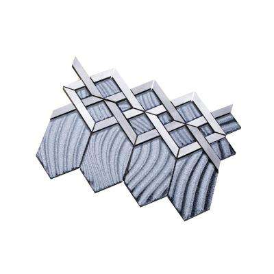 Hexa/03 Gray Sequined Glass Coupled with Silver and Gray Aluminum 12.72 in. x 10.24 in. Wall Tile (11 sq. ft. per Box)