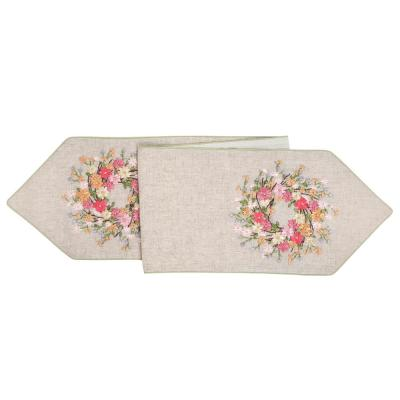 Zinnia Wreath 13 in. x 72 in. Multi Floral Cotton Table Runner