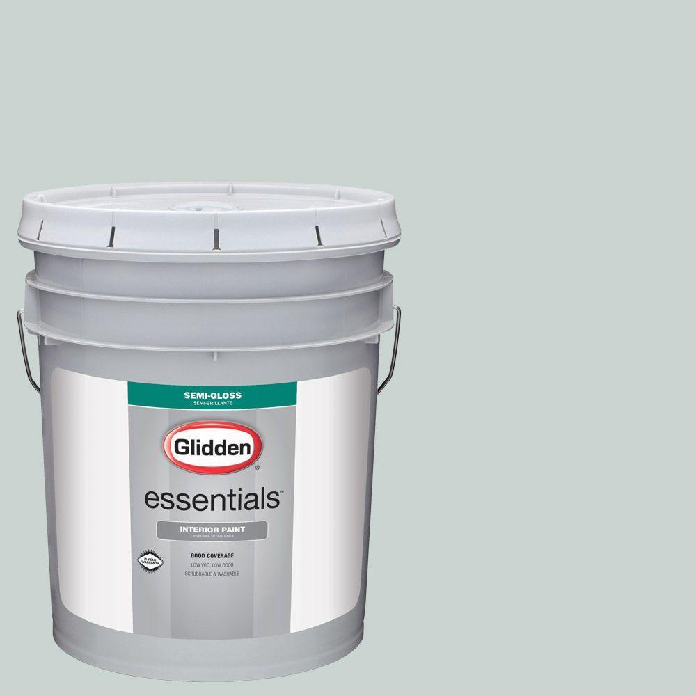 Glidden Essentials 5 Gal Hdgcn19u Grey Leaf Semi Gloss Interior Paint
