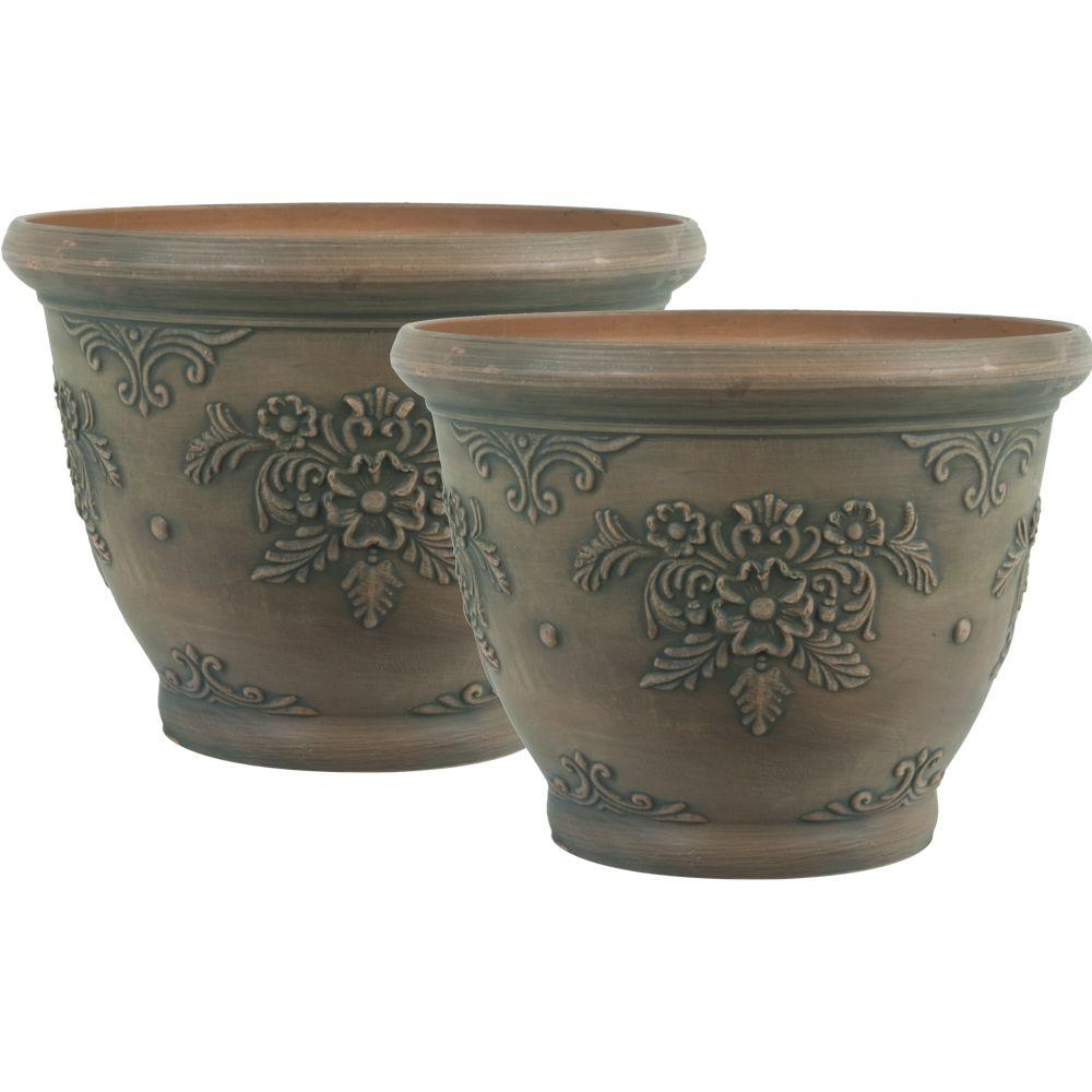Pride Garden Products 12 in. Round Brown Floral Plastic Planter (2-Pack)