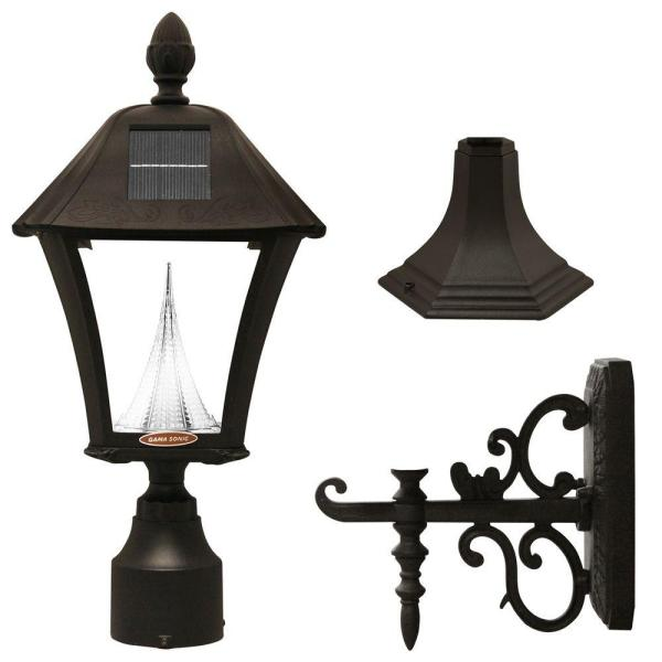 Baytown Solar Black Outdoor Post/Wall Light with Bright/Warm-White LEDs