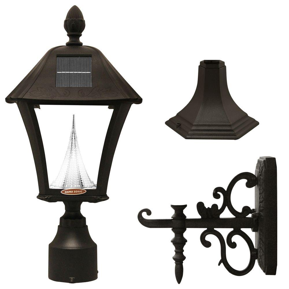 Gama Sonic Baytown Solar Black Outdoor Post/Wall Light with Bright ...