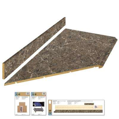 8 ft. Laminate Countertop Kit with Left Miter in Breccia with Premium Antique Finish and Valencia Edge