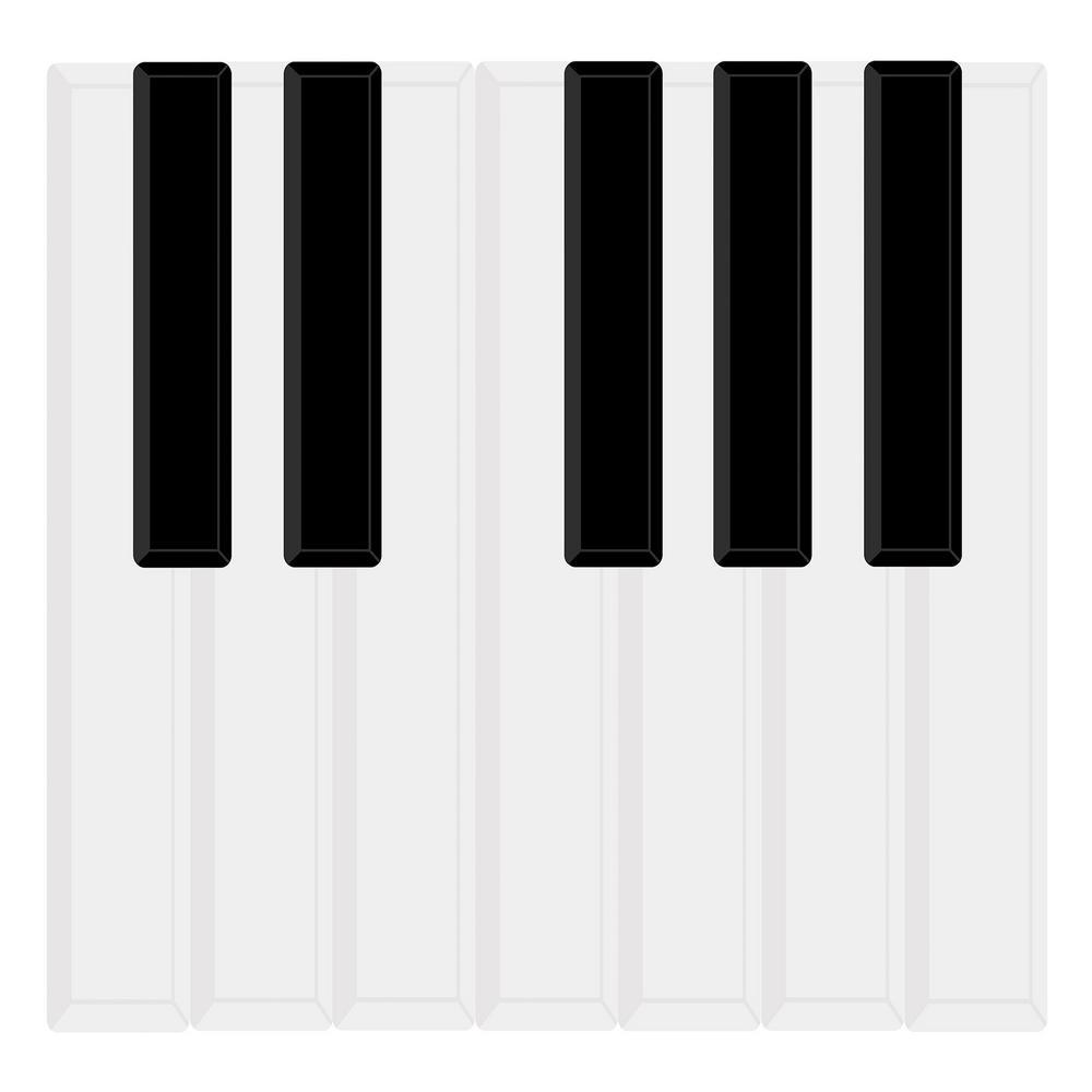 Black Piano Keys Wall Art Decal Kit
