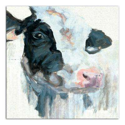 24 in. x 24 in. ''Curious Painted Dairy Cow'' Printed Canvas Wall Art