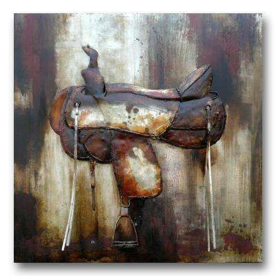 "39 in. x 39 in. ""Saddled"" Metal Wall Art"