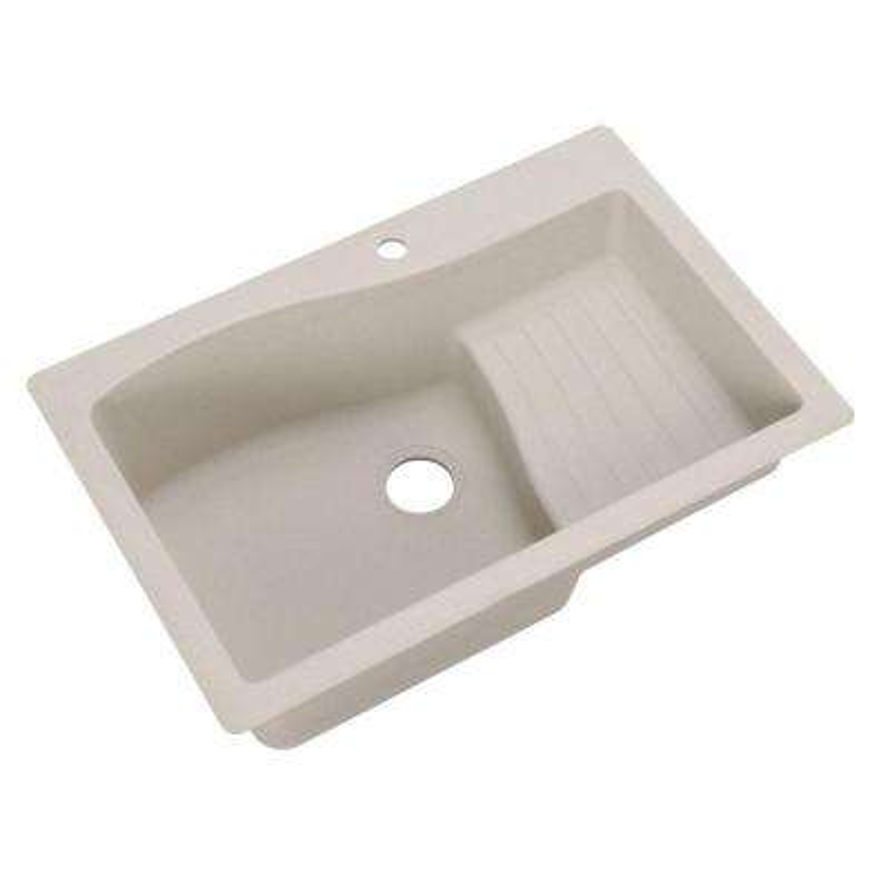 Ascend Drop-In/Undermount Granite 33 in. 1-Hole Single Bowl Kitchen Sink in Granito