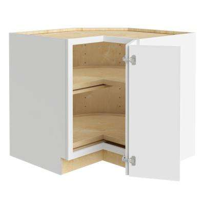 Newport Assembled 36x34.5x24 in Plywood Shaker Lazy Suzan Base Corner Kitchen Cabinet Right in Painted Pacific White