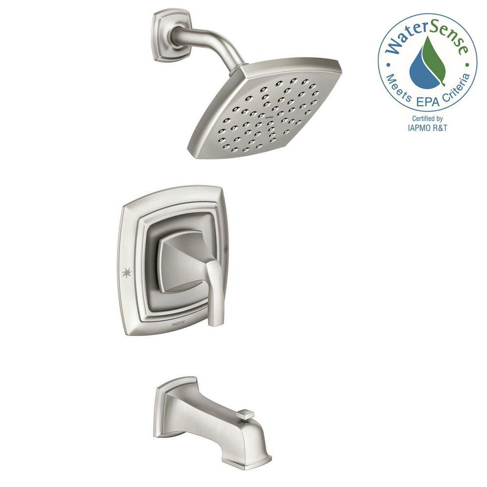 MOEN Hensley Single-Handle 1-Spray Tub and Shower Faucet in Spot Resist Brushed Nickel (Valve Included) 82414SRN