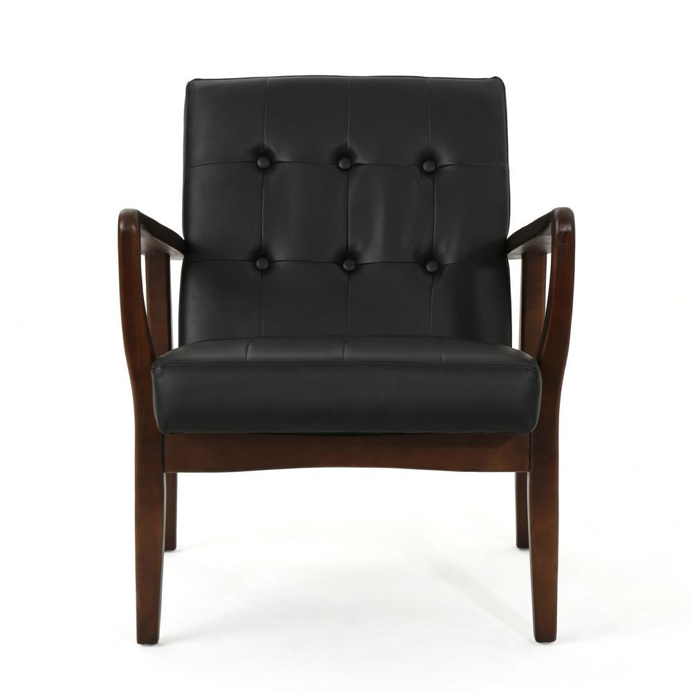 Noble House Callahan Mid-Century Modern Button Back Black Leather Club Chair