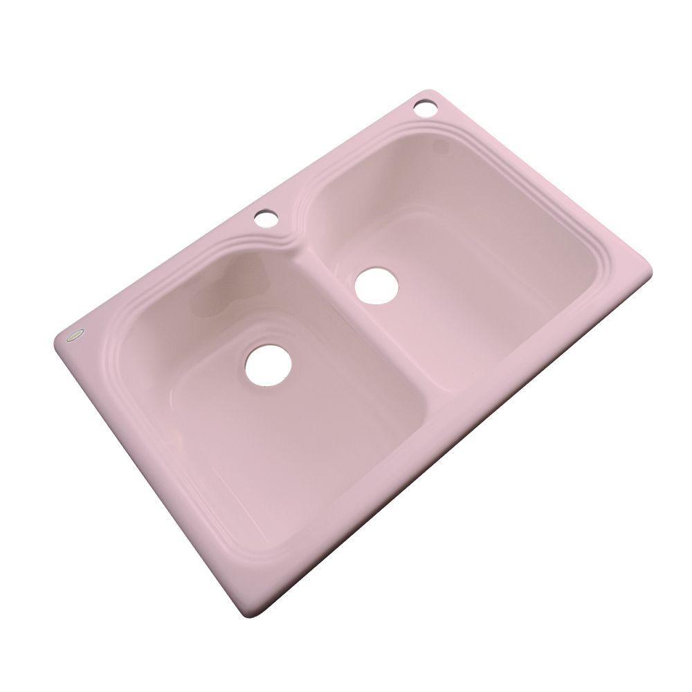 Thermocast Hartford Drop-In Acrylic 33 in. 2-Hole Double Bowl Kitchen Sink in Dusty Rose