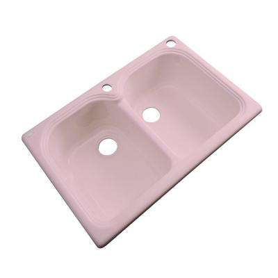 Hartford Drop-In Acrylic 33 in. 2-Hole Double Bowl Kitchen Sink in Dusty Rose