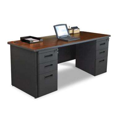 72 in. W x 36 in. D Mahogany Laminate and Dark Neutral Double Full Pedestal Desk